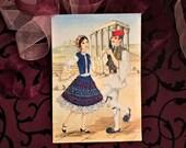 Vintage Embroidered Postcard, Greek Folk Dance Couple, UNUSED, Greece, Blue Folk Dress, Mid Century 1950s, Embroidery