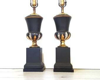 Handpainted Black Urn Lamps ~ Vintage Black Gold Silver Painted Flower Urn Trophy Lamps