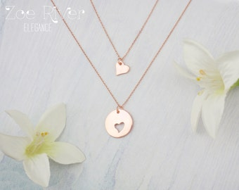 Mother daughter necklaces, choose rose gold, silver or gold. Dainty mother daughter heart necklaces.