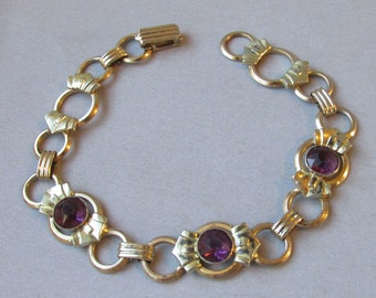 Vintage 1930's Art Deco Gold Plated Sterling Silver Amethyst Rhinestone Bracelet