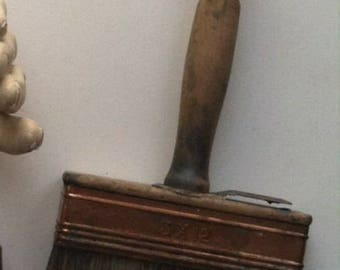 Antique horsehair paint brush soft bristle fine detail dust brushes clean tool painters artisan crafted art object copper clad wood handle