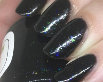 There Are Four Lights Nail Polish - black opal with iridescent flakies
