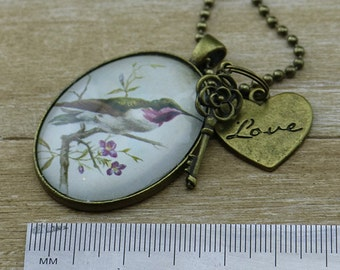 Vintage Bird with love heart and Key key charms w/bronze Necklace