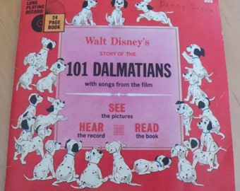 Vintage 70's Walt Disney 101 DALMATIONS Book/Record Read-Along #305~33 1/3 RPM