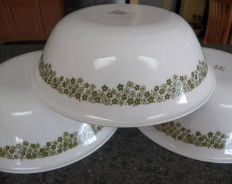 """Lot of 3 Vintage Corelle Corning CRAZY Daisy~SPRING BLOSSOM Serving Bowls 8.5"""""""
