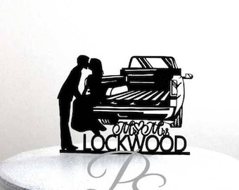 Personalized Wedding Cake Topper - Pick up Truck Tailgate Kiss wedding with your last name and wedding date