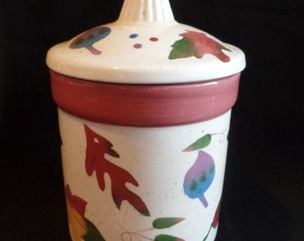 Vintage Autumn Leaves One Pint Kitchen Canister