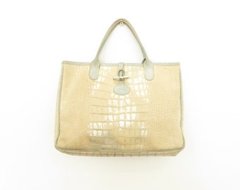 Longchamp Roseau Medium Limited Edition Made in France Leather Golden Tote Bag with Silver Leather Details, sz. 35 cm