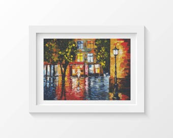 Cross Stitch Pattern PDF Waiting For You Cross Stitch Chart, Colorful Architecture Instant Download (ART026)