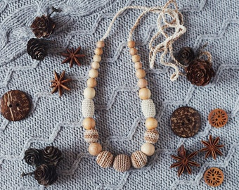 READY TO SHIP Neutral Teething  Nursing necklace for breastfeeding Mommy  - beige cream colors - cotton yarn wood bead
