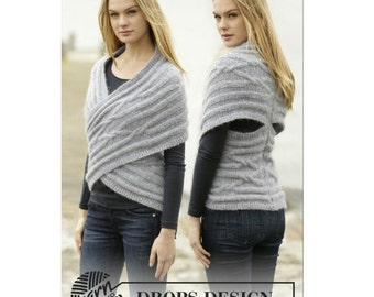 Hand knitted ladies infinity wrap cardigan top XS - Ladies clothes - womens clothing - wrap top - knitted top - knitwear