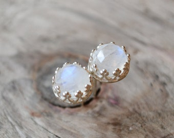 rainbow moonstones stud earrings  ///  6mm rose cut moonstones set in filigrane sterling silver /// june birthstone