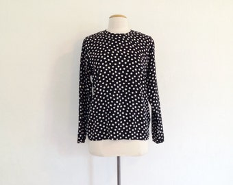 black silk blouse / vintage silk shirt long sleeve 90s blouses black and white blouse