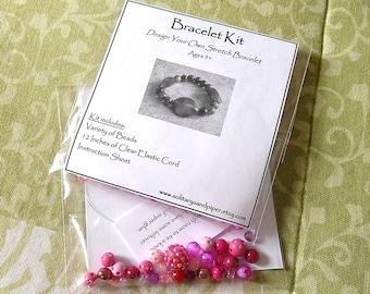 Bracelet Kit - Design Your Own Stretch Bracelet - DIY Bracelet - Party Favor - Birthday Party Activity - Stocking Stuffer - Pink Bracelet