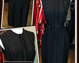 Vintage Black Silk Dress FREE SHIPPING