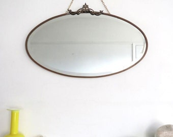 Vintage Oval Bevelled Mirror Art Deco Brass Frame