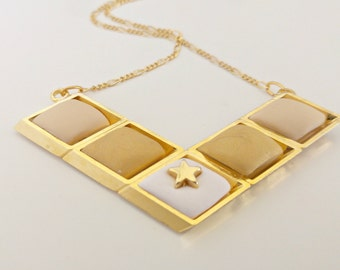 Gold Star Necklace/ Gold Statement Necklace/ Big Gold Necklace/ Geometric Necklace/ Gold Chevron Necklace - Big City Life