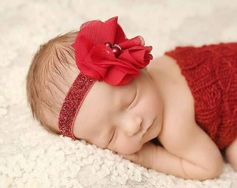 Red Headband, Dark Red Flower Headband, Baby Flower Headband, Dark Red Newborn Headband