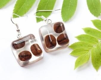 Coffee jewelry - Coffee earrings - Coffee lovers jewelry - Coffee lovers gift - Coffee lover earrings - I love coffee - Coffee beans jewelry