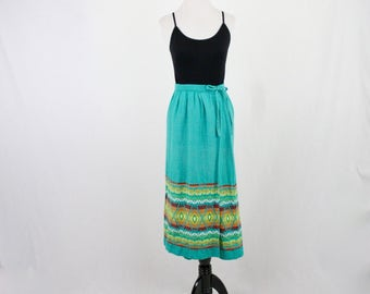 Vintage Guatemalan Woven Embroidered Cotton Skirt