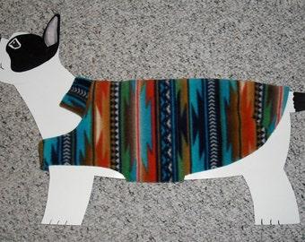 "Fleece Dog Coat, size medium (20-25 lbs./ girth 22.5"" ) Southwest Turquoise Sunset; fully lined and cozy warm"