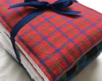 Plaid Flannel Baby Burp Cloths Red Green and Blue Set of 3 Handmade Upcycled Cloth Diapers