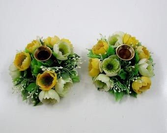Brass Candle Holders with Plastic Flower Rings