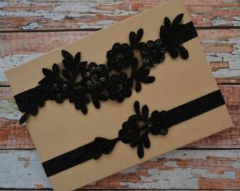 Black Wedding Garter, Lace Wedding Garter Set, Black Beaded Lace Garter Belt, Black Lace Bridal Garter, Vintage Style Lace Garter Set, BB1