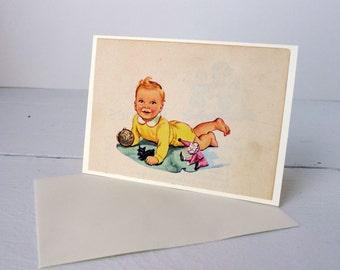 Handmade Vintage Book Greeting Card New Baby/First Birthday Blank