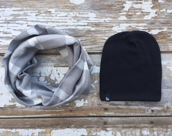 Gray Infinity Scarf and Beanie Set Scarf and Hat Set Gray and White Plaid Scarf Baby Scarf Bib Toddler Scarf Drool Bib Hat Set Black Beanie