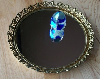 """Vanity mirror tray  or wall mirror in round gold tone approx. 8"""" in dia. for colognes,cosmetics or candles"""