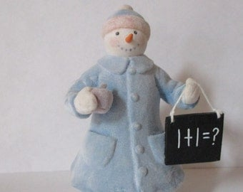 Vintage snowman figurine flocked teacher theme
