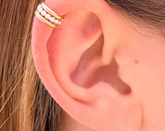 Gold and Silver Beaded Cartilage Cuff, Silver and Gold Upper Ear Cuff