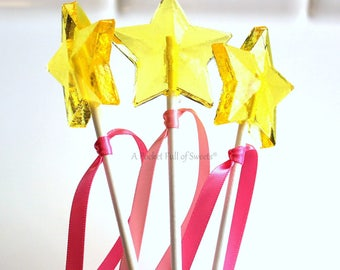 PINKALICIOUS PARTY, 12 Star Wands, Star Wedding, Star Baby Shower, Birthday Party Favors, Yellow Stars, Barley Sugar Pops, Lollipop Favors