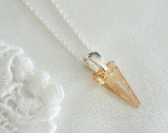 Swarovski Crystal Spike Necklace - Bridesmaid Gift Necklace - Gold Necklace - Everyday Wear Necklace - Christmas Gift Necklace
