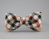 Brown Bow Tie for Men Checkered Bow Tie Mens Bow Ties for Groom Wool Bow Tie Gift for Men Gift for Husband Mens Gift BowTie for Father