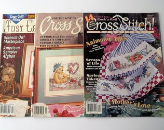 Vintage Cross Stitch Magazines  /    For the Love of Cross Stitch/   Just Cross Stitch /   Lot of 3 Cross Stitch Magazines