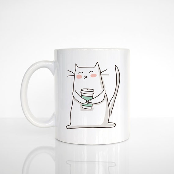 Coffee Cat Mug, Cat Coffee Mug, Cat Cup, Ceramic Mug, Funny Mug, Cute Mug, Cat Lover Gift, Coffee Lovers Gift, Office Mug, Cat Coffee Cup