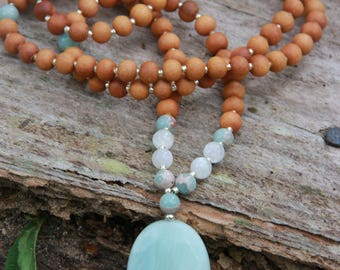 Amazonite Sandalwood Mala - Meditation Inspired Yoga Beads / mala beads BOHO chic / Mala Beads