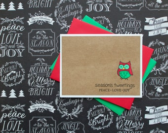 Handmade Holiday Card, Punny Christmas Card, Seasons Greetings, Owl Holiday Card, Owl Christmas Card, Cute, Punny Holiday Card, Set of 6