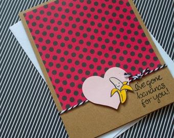 Valentines Card Set, Cute Valentine Card, Funny Valentine Card, Handmade Valentines Set, Valentines Day, Punny Valentine, Banana Card