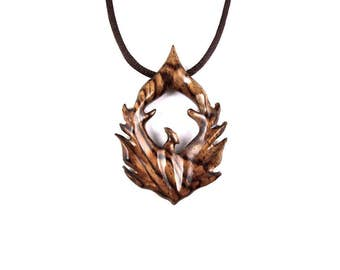 Phoenix Pendant, Phoenix Necklace, Phoenix Jewelry, Wood Phoenix Necklace, Firebird Necklace, Bird Necklace, Bird Jewelry, Wood Jewelry
