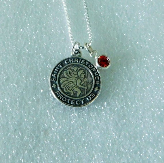 Sterling silver St. Christopher medal, round medallion, Catholic jewelry, Christ bearer, Patron Saint, birthstone charm