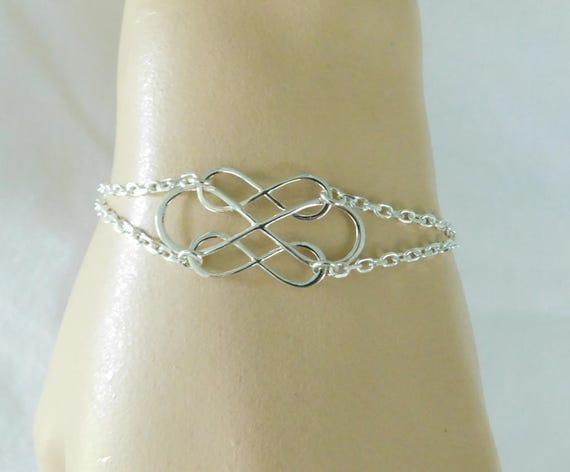 Sterling silver love bracelet, love jewelry, bridal bracelet, infinity bracelet, double infinity for double the love