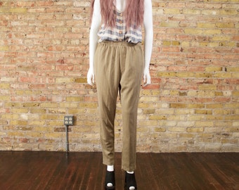striped knit pants / slouchy / vertical stripe / neutral pants / loungepants / elastic waist / easy fit / causal / sweatpants / small