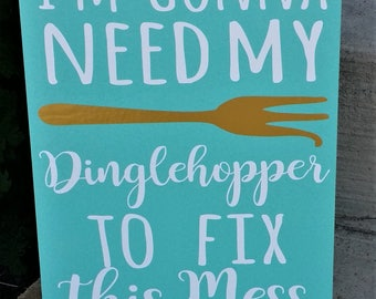 Dinglehopper, I'm going to need my dinglehopper to fix this mess, fun bathroom sign, Bathroom Decor, The Little Mermaid, Disney gift
