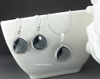 Grey Necklace, Dangle Earrings, Bridesmaid Necklace, Bridesmaid Gifts, Wedding 2017, Charcoal, Dark Gray, Gifts for Her, Jewelry Set