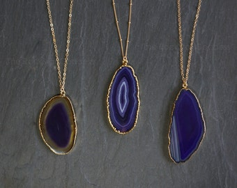 Agate Necklace // Purple Agate  //  Druzy Necklace // Crystal Necklace // Druzy Jewelry //  Agate Slice // Purple Agate // Agate Jewelry