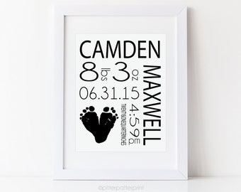Monochrome Baby Footprint Art Nursery Print, Black & White Birth Announcement Personalized with Your Child' s Actual Feet, 8x10 in, UNFRAMED