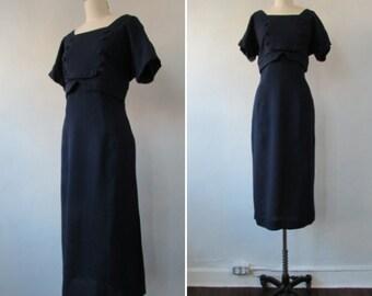 1960s dress | vintage 60s dress | vintage dress | vintage wiggle dress | navy blue vintage 1960s dress | medium |The Kay Carter Wiggle Dress